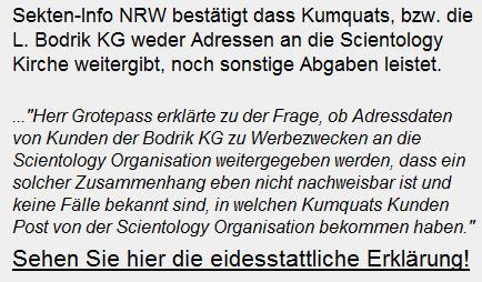Eidestaatliche Erklärung der Sekten Info NRW